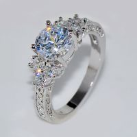 5.80/ct Lab diamond White Sapphire Wedding Ring 10KT White