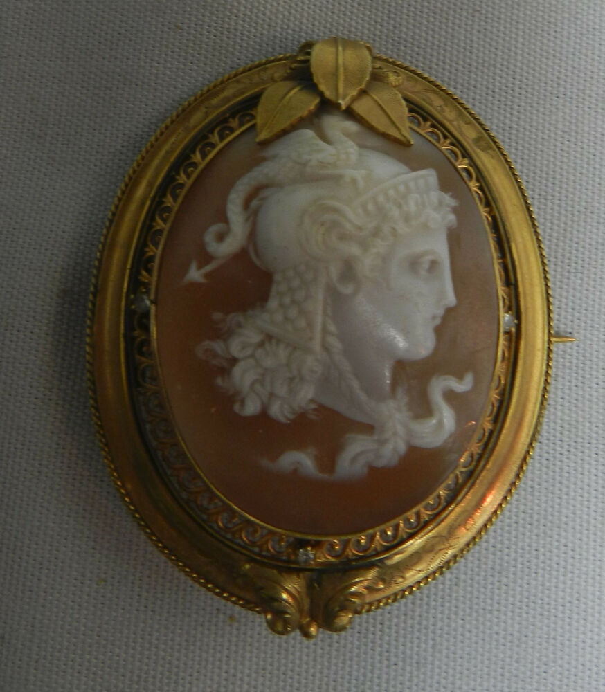Antique Shell Victorian Cameo Pin Brooch Pendant With