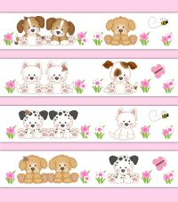 Puppy Wallpaper Border Wall Art Decal Sticker Baby Girl ...