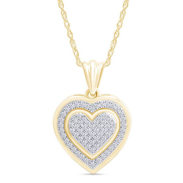 Beautiful Heart Pendant 10k Gold Real Diamond With Necklace