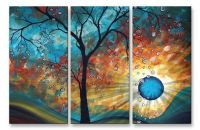Aqua Burn Abstract Tree Landscape Metal Wall Art Sculpture ...