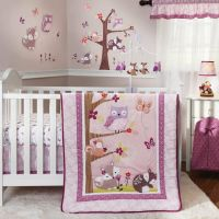 NURSERY 3pc FAIRY TALE Animal BEDDING SET Baby Crib Pink