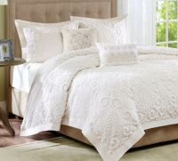 Grey And Cream Bedding. IVORY CHENILLE King COMFORTER SET