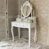 White Wooden Dressing Table Set Mirror Shabby French Chic ...