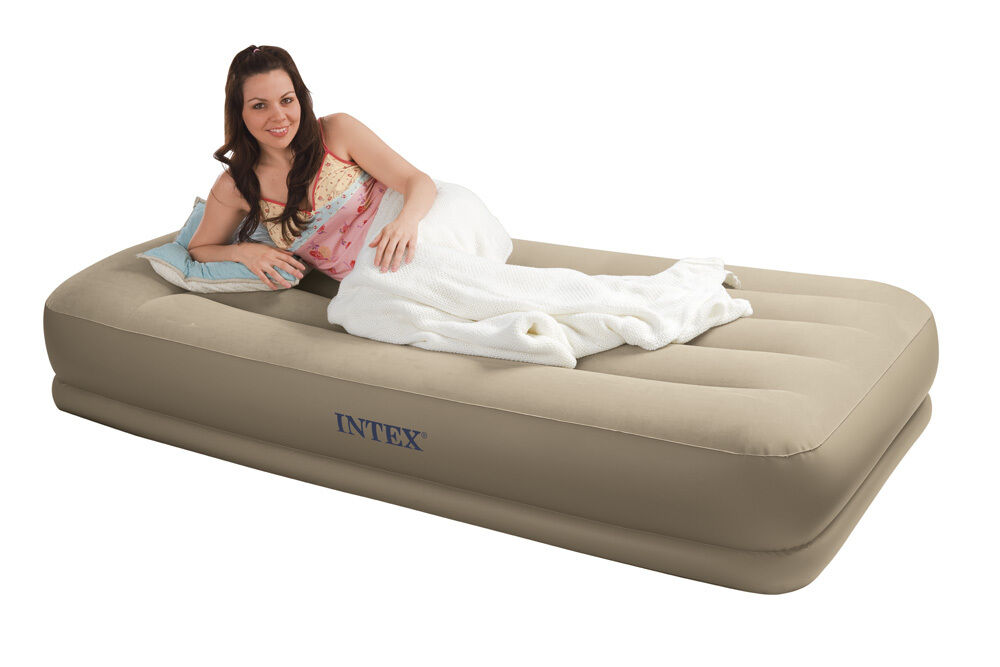 intex inflatable pull out chair twin bed stand up desk high pillow rest mid-rise air mattress airbed w built in pump 67741e | ebay