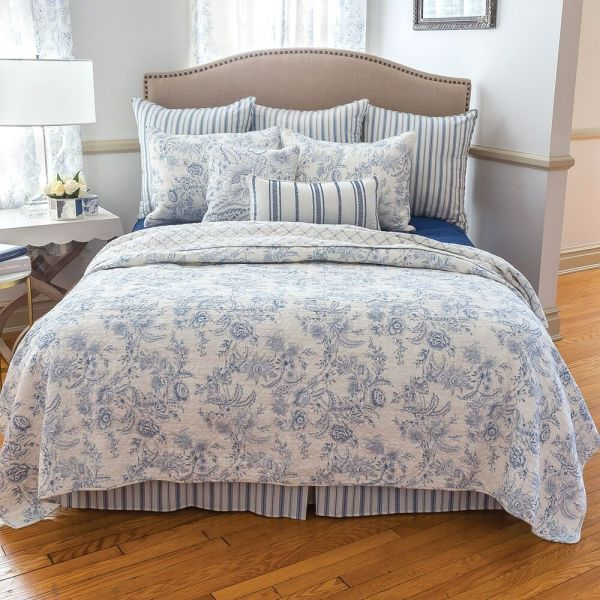 Clementina Blue King Quilt Set White French Toile