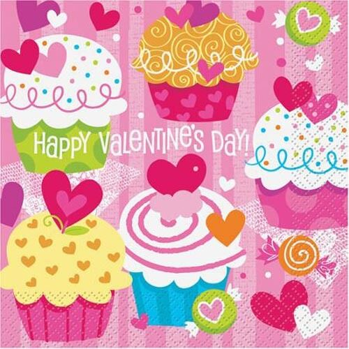 VALENTINE39S DAY Cupcake Hearts LUNCH NAPKINS 16