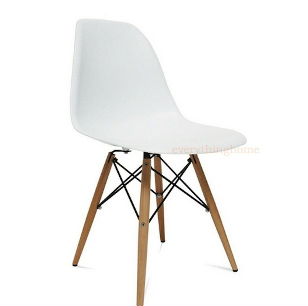 eiffel chair wood legs two person folding white plastic shell pyramid dining side leg dowel details about base