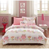 FULL 8 Pc Girls OWL BEDDING SET Bag Pink Purple Flowers ...