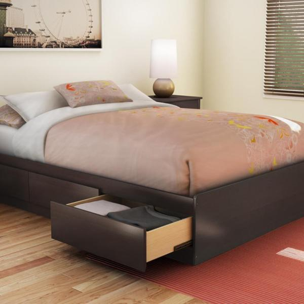 Functional Wood Platform Bed 3 Drawers Underbed Storage Chocolate Full Size