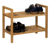 Stackable Oak Shoe Storage Rack | Narrow Wooden Hallway ...