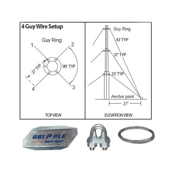 Antenna Guy Wire & Clamps Kit 30' ft Telescoping Mast Down