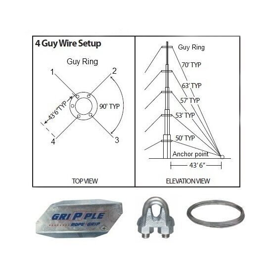 Antenna Guy Wire & Clamps Kit 50' ft Telescoping Mast Down