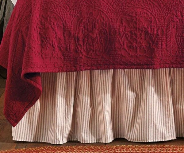 Red and White Ticking Stripe Bed Skirt Twin