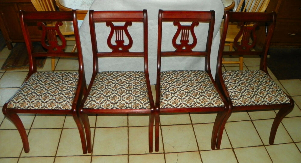 Set of 4 Mahogany Harp Back Dinette Chairs  Sidechairs by