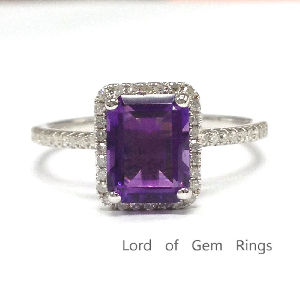 6x8mm Emerald Cut Purple Amethyst 14K White Gold