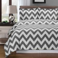 Gray and White Chevron 3-piece Full / Queen Duvet Cover ...