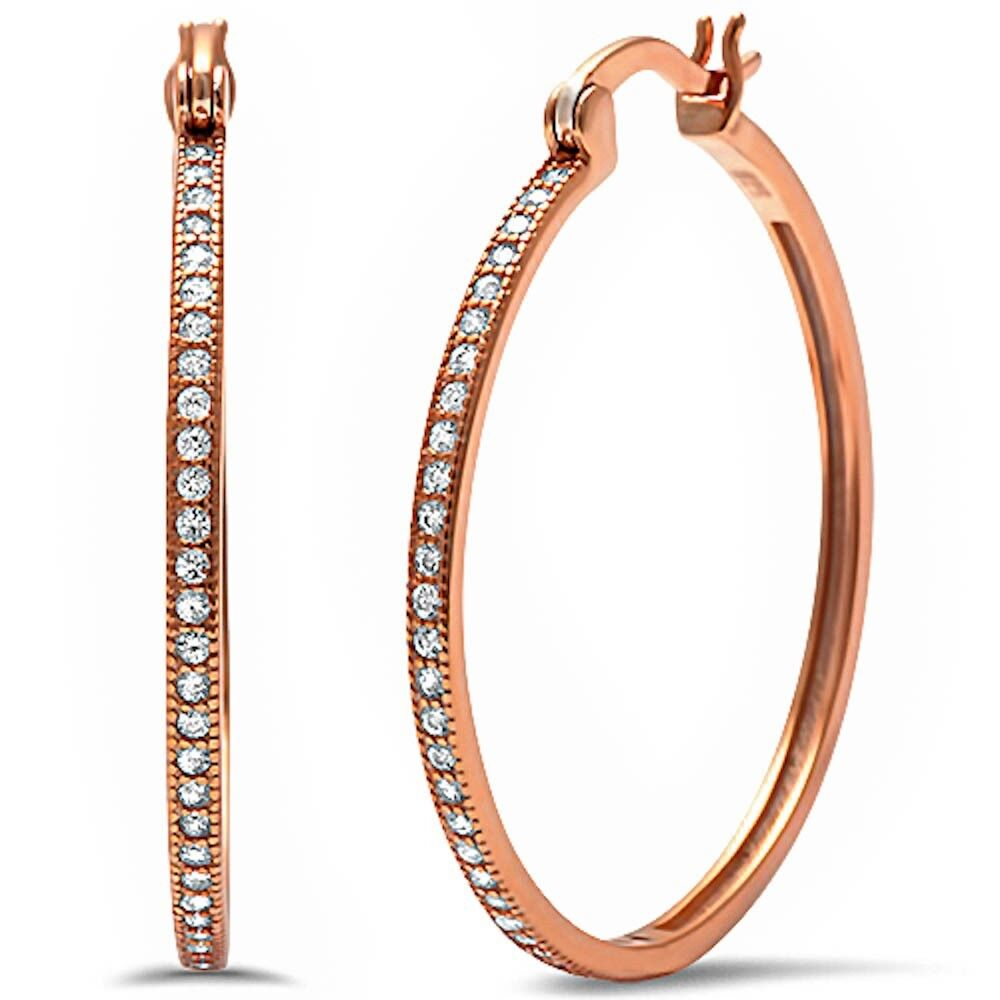 Rose Gold Plated Round Pave Cz Hoop .925 Sterling Silver