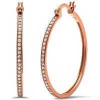 Rose Gold Plated Round Pave Cz Hoop .925 Sterling Silver ...