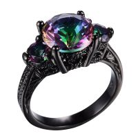 JUNXIN Mystic Rainbow Fire Topaz Ring Black Gold Jewelry ...