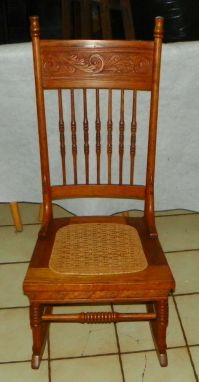 Solid Oak Carved Spindle Back Sewing Rocker / Rocking
