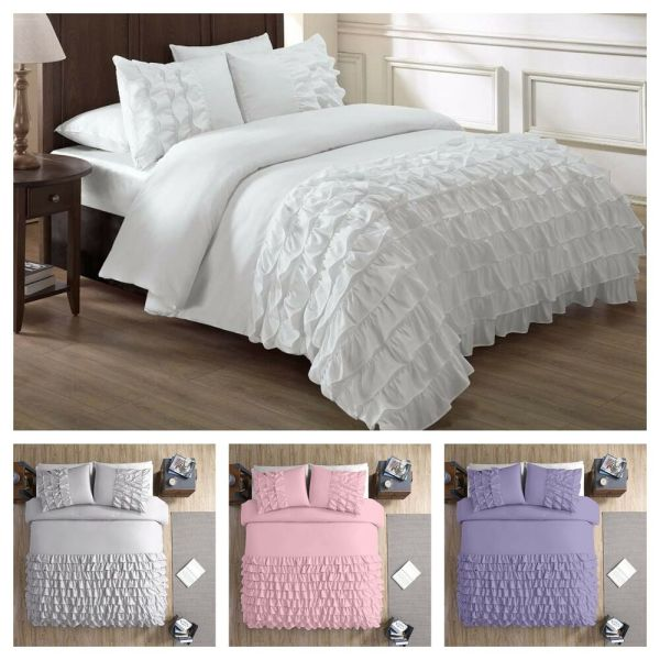 Chezmoi Collection Ella Shabby Chic Ruffle Duvet Cover Set ...