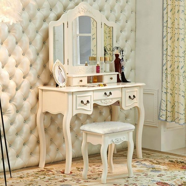 French Vintage White Wood Vanity Dressing Table Set Makeup
