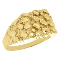Real 10K Yellow Gold Men's Nugget Style Pinky Ring Custom ...