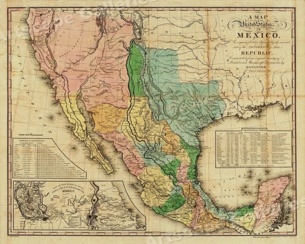 quotA Map of the United States of Mexicoquot 1846 Vintage