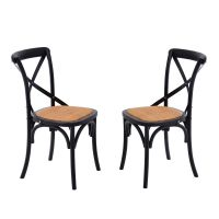 HOMCOM Dining Chairs Set of 2 Kitchen Vintage X Back Solid ...