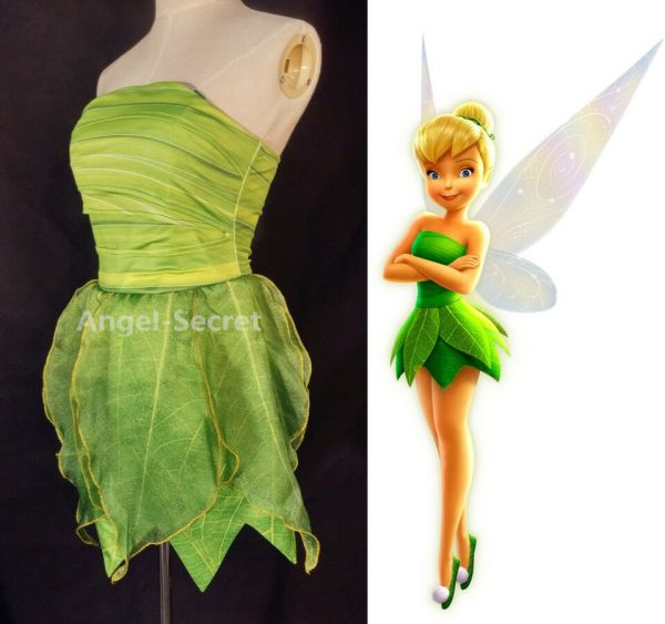Fp356 Tinkerbell Costume Women Kid Cosplay Leafy Print Dress Custom