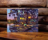 Cabin,Old Truck, Dog LED Lighted Canvas wall art by