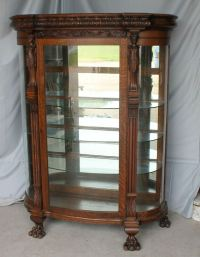 Antique Oak Curio China Cabinet  Carved ladies