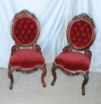 Victorian Rosewood match pair Parlor Chairs Red Upholstery ...