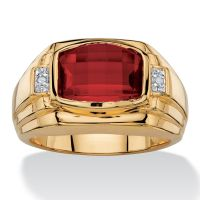 RED RUBY MENS 18K GOLD DIAMOND ACCENT GP RING SIZE 8 9 10 ...
