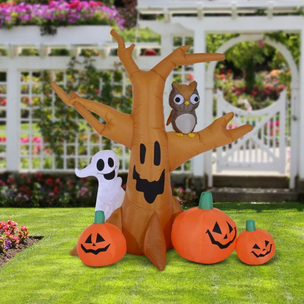 Lighted Halloween Inflatable Tree 8 Ft With Ghost 3