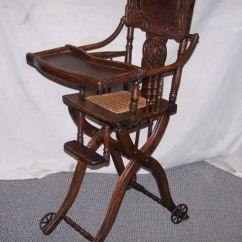 Antique High Chairs Wheelchair Accessories Near Me Oak Folding Up And Down Chair Or Stroller All In Details About One