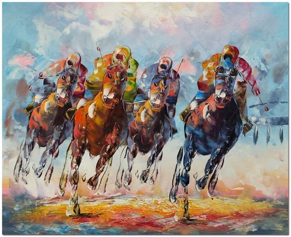 Horse Racing Oil Paintings On Canvas