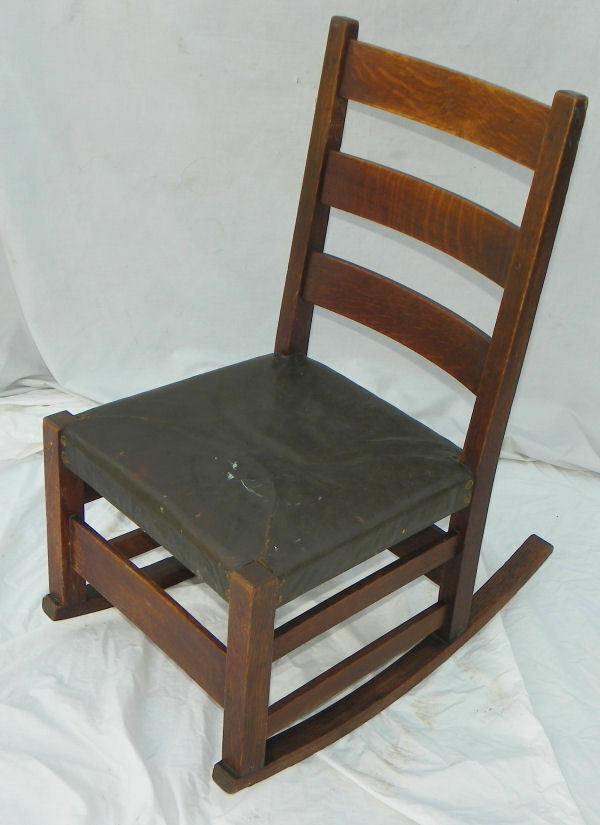 Antique Mission Oak Rocking Chair  Gustav Stickley Rocker