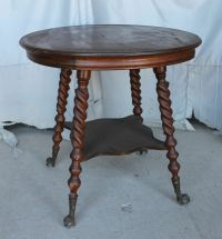 Antique Quarter sawn Oak Parlor Lamp Table  claw ball ...
