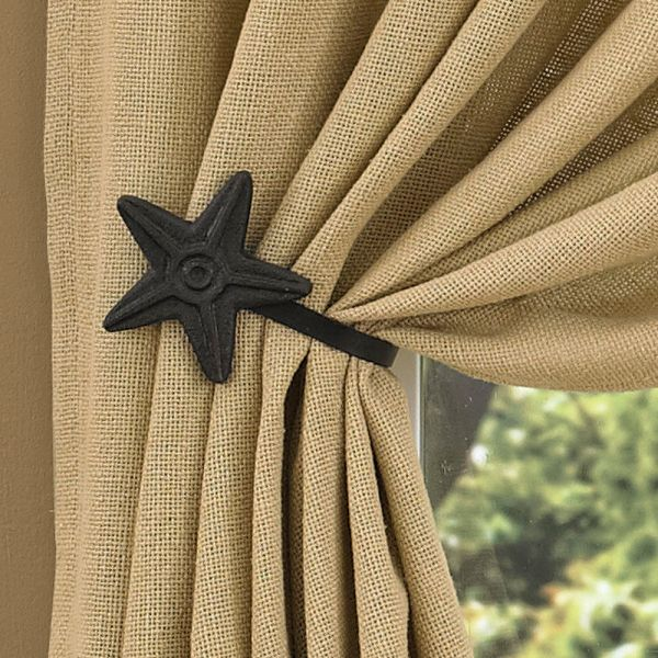 Black Star Curtain Tie-backs Park Design - Set Of 2