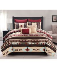Southwest Red Brown Native American King Comforter Set (7