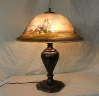 Large Antique Reverse Painted Pairpoint Scenic Table Lamp ...