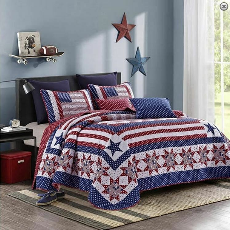 American Star Twin Single Quilt Set Red White Blue