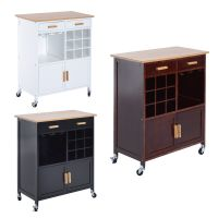 Rolling Kitchen Trolley Serving Cart Wood Storage Cabinet ...