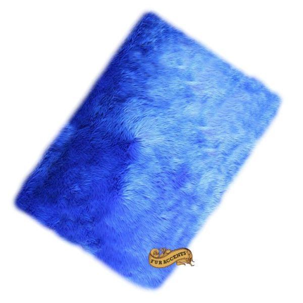Fur Accents Faux Accent Rug Blue Shag 2' X 4'
