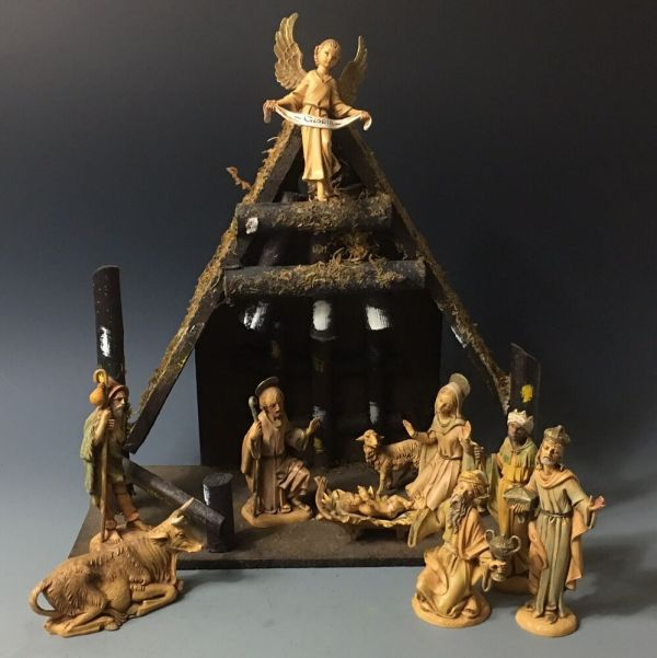 Vintage Depose Italy Fontanini Nativity Set Real Bark