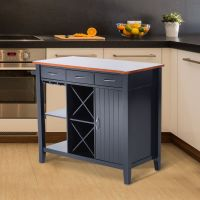 Kitchen Storage Island Cabinet Wood Top Cupboard Counter ...