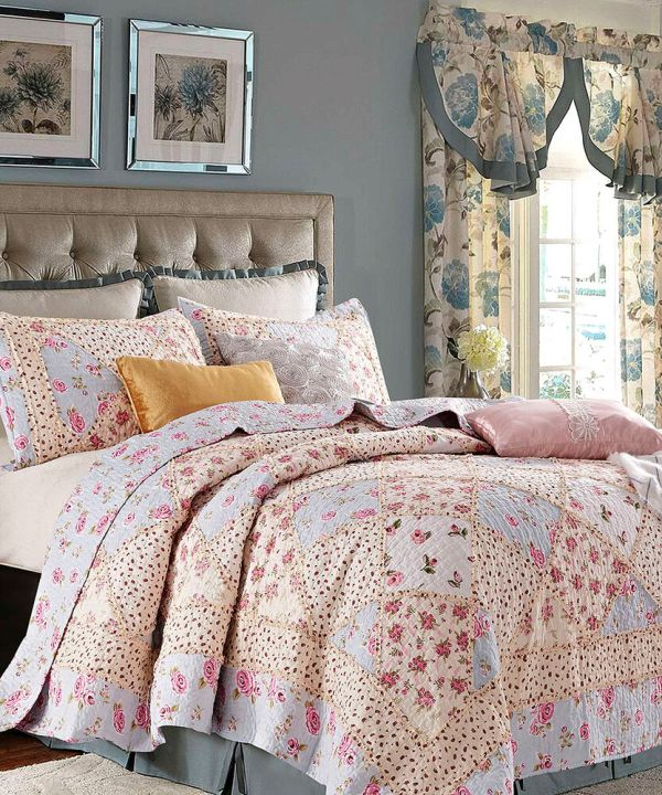 Rose Garden Full Queen Quilt Set Country Cottage Blue Pink Shabby Ruffled Rag