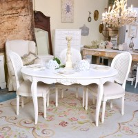 Shabby Cottage Chic Oval White Dining Table Vintage French ...